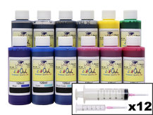12x120ml Refill Kit for CANON PFI-105, PFI-106, PFI-206, PFI-304, PFI-306, PFI-704, PFI-706