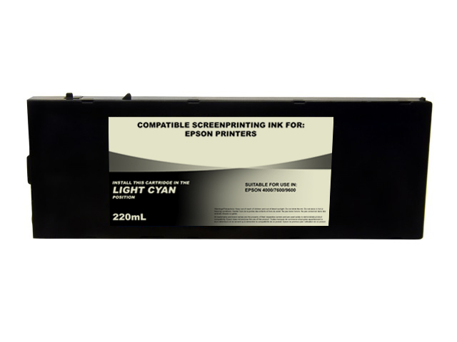 220ml Black Dye Screenprinting Cartridge for EPSON 4000, 7600, 9600 - LIGHT CYAN Slot
