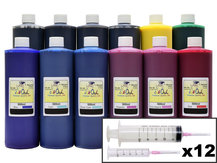 12x500ml Refill Kit for CANON PFI-105, PFI-106, PFI-206, PFI-304, PFI-306, PFI-704, PFI-706