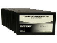 Set of 8 220ml Black Dye Screenprinting Cartridges for EPSON 7800, 9800