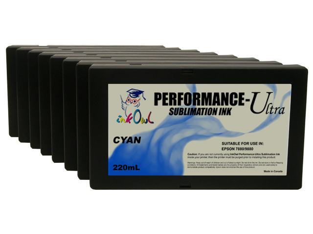 8-Pack 220ml Performance-Ultra Sublimation Cartridges for Epson Stylus Pro 7880, 9880