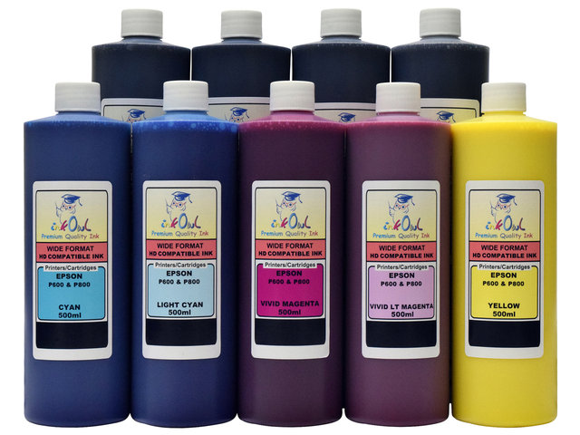 9x500ml Compatible Ink for EPSON Ultrachrome HD with MATTE BLACK for SureColor P800