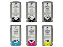 6-Pack of Remanufactured 130ml HP #727 Cartridges for DesignJet T920, T930, T1500, T1530, T2500, T2530