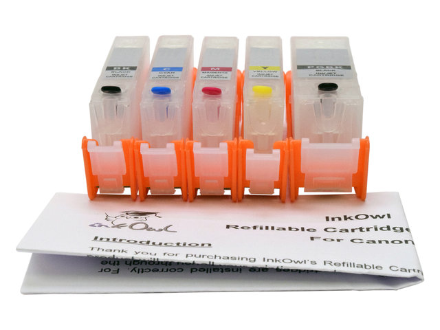 Easy-to-refill Cartridge Pack for use with CANON PGI-5, CLI-8 (5 cartridges)