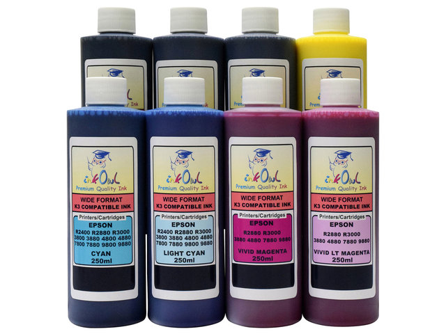 8x250ml ink for EPSON Ultrachrome K3 with Vivid Magenta (for R2880, R3000, 3880, 4880, 7880, 9880)