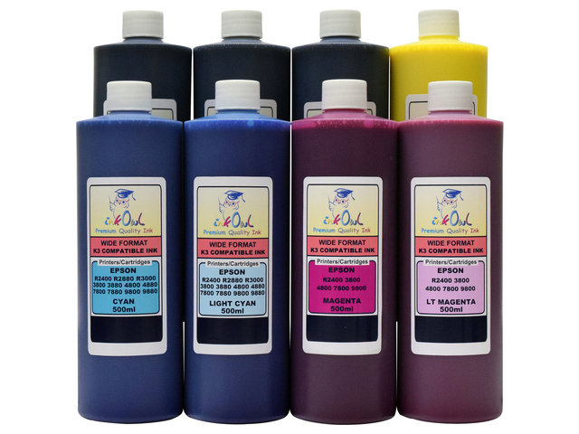 8x500ml Compatible Ink For EPSON Ultrachrome K3 Stylus Pro 4800 7800 9800