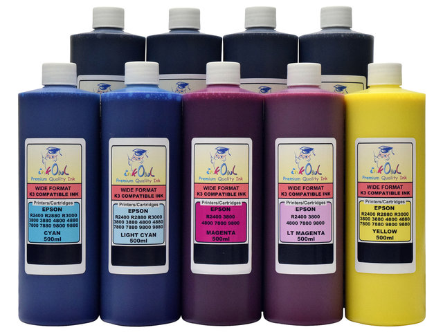 9x500ml Compatible Ink For EPSON K3 With MATTE BLACK Stylus Pro 3800 4800