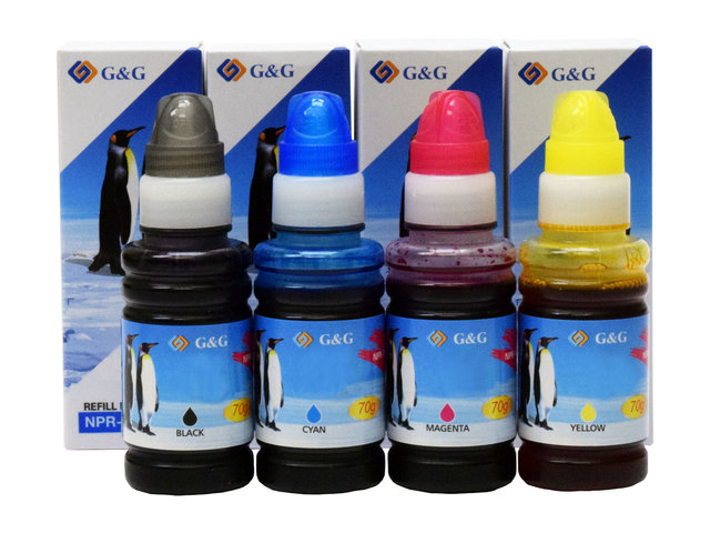 4-Pack G&G Compatible Ink Bottles to replace Epson 664 for EcoTank ET-2500/2550/2600/2650/4500