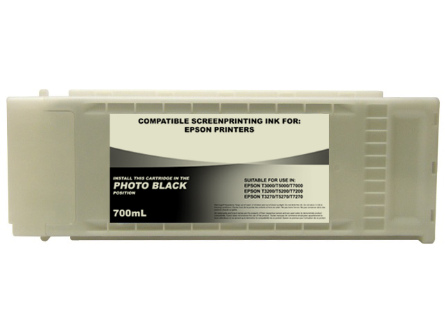 700ml Black Dye Screenprinting Cartridge for EPSON T3000, T3270, T5000, and others - PHOTO BLACK Slot