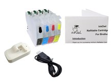 Easy-to-refill Standard-Size Cartridge Pack for BROTHER LC3011, LC3013 + Chip Resetter Bundle
