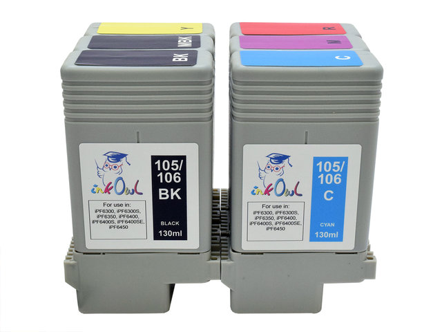 InkOwl 130ml Compatible Cartridge for CANON PFI-105 106MBK MATTE BLACK iPF6400SE