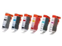 6-Pack Compatible Cartridges for use with CANON BCI-3/5/6 (BK, C, M, PC, PM, Y)