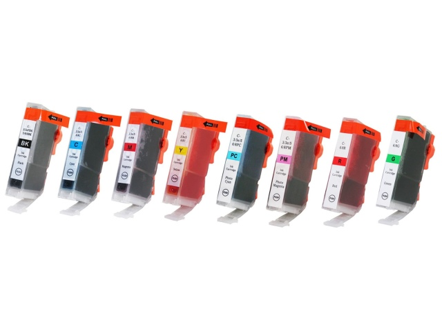 8-Pack Compatible Cartridges for use with CANON BCI-5/6 (BK, C, G, M, PC, PM, R, Y)