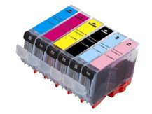 6-Pack Compatible Cartridges for use with CANON CLI-8 (BK, C, M, PC, PM, Y)