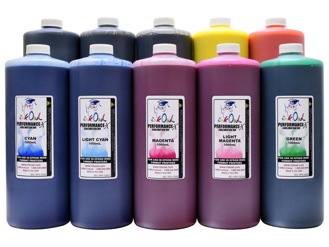 10x1000ml Performance-X Sublimation Ink for Epson Wide Format Printers
