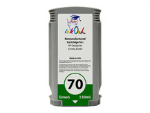 Remanufactured 130ml HP #70 GREEN Pigment Cartridge for DesignJet Z3100, Z3200 (C9457A)