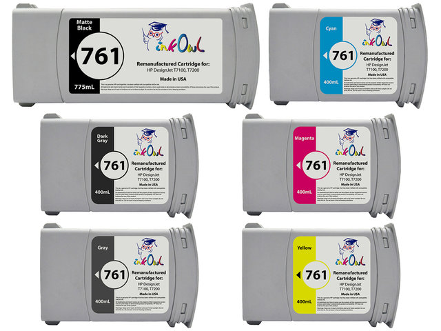 6 Pack Of Remanufactured 775ml 400ml HP 761 Cartridges For DesignJet T7100