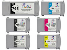 6-Pack of Remanufactured 775ml/400ml HP #761 Cartridges for DesignJet T7100, T7200