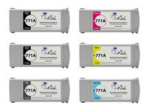 6-Pack of Remanufactured 775ml HP #771A series Pigment Cartridges for DesignJet Z6200, Z6600, Z6800