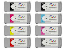 8-Pack of Remanufactured 775ml HP #771A series Pigment Cartridges for DesignJet Z6200, Z6800