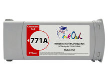 Remanufactured 775ml HP #771A series CHROMATIC RED Pigment Cartridge for DesignJet Z6200, Z6800 (B6Y16A)