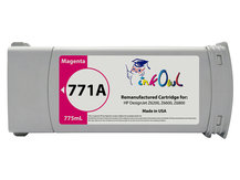 Remanufactured 775ml HP #771A series MAGENTA Pigment Cartridge for DesignJet Z6200, Z6600, Z6800 (B6Y17A)