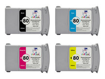 4-Pack of Remanufactured 350ml HP #80 Cartridges for DesignJet 1050, 1055