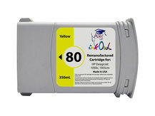Remanufactured 350ml HP #80 YELLOW for DesignJet 1050, 1055 (C4848A)