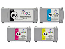 4-Pack of Remanufactured 775ml/400ml HP #90 Cartridges for DesignJet 4000, 4020, 4500, 4520