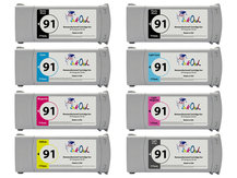 8-Pack of Remanufactured 775ml HP #91 Pigment Cartridges for DesignJet Z6100