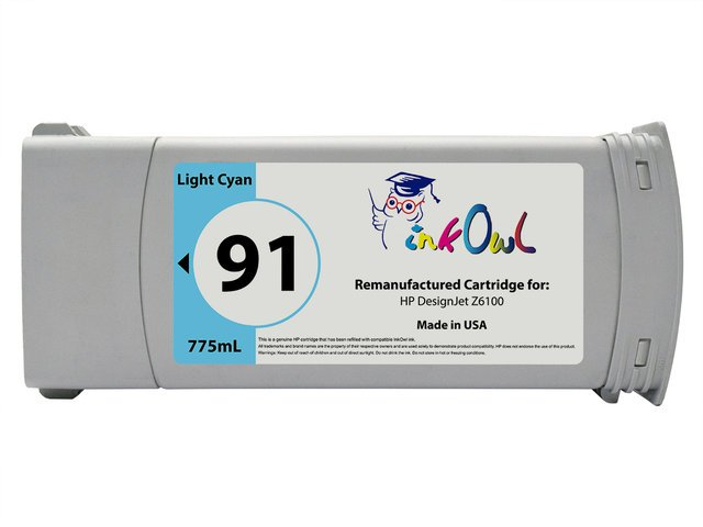 Remanufactured 775ml HP #91 LIGHT CYAN Pigment Cartridge for DesignJet Z6100 (C9470A)