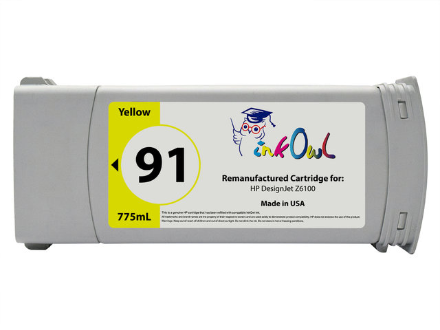 Remanufactured 775ml HP #91 YELLOW Pigment Cartridge for DesignJet Z6100 (C9469A)